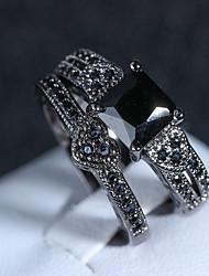 cheap -Ring Set Onyx Vintage Style Black Copper Obsidian Imitation Diamond Heart Ladies Artistic Vintage 2pcs 6 7 8 9 10 / Women's