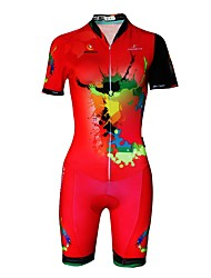 cheap -Malciklo Women's Short Sleeve Triathlon Tri Suit Red Plus Size Bike Reflective Strips Sweat-wicking Sports Lycra Painting Mountain Bike MTB Road Bike Cycling Clothing Apparel / Stretchy / Italian Ink