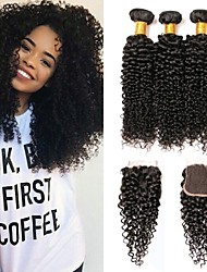 cheap -3 Bundles with Closure Indian Hair Kinky Curly Human Hair Headpiece Extension Bundle Hair 8-24 inch Black Natural Color Human Hair Weaves with Baby Hair Silky Smooth Human Hair Extensions / 8A