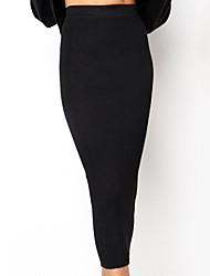 abordables -Femme Basique Chic de Rue Quotidien Sortie Moulante Jupes - Couleur Pleine Tricot Taille haute Hiver Blanche Noir M L XL / Mince