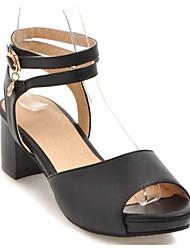 cheap -Women's Sandals Chunky Heel PU Summer Black / White / Pink