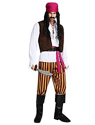 cheap -Pirates of the Caribbean Costume Highschool Men's Halloween Halloween Carnival Masquerade Festival / Holiday Polyster Brown Carnival Costumes Solid Colored Striped Halloween
