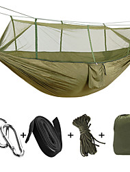 cheap -Camping Hammock with Mosquito Net Double Hammock Outdoor Moistureproof Well-ventilated Ultra Light (UL) Parachute Nylon with Carabiners and Tree Straps for 2 person Camping / Hiking Hunting Outdoor