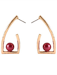 cheap -Women's Stud Earrings Geometrical Ladies Simple European Fashion Imitation Pearl Earrings Jewelry Gold / White / Red For Daily 1 Pair