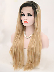 cheap -Synthetic Lace Front Wig Straight Side Part Lace Front Wig Blonde Long Black / Gold Synthetic Hair 24 inch Women's Adjustable Heat Resistant Blonde