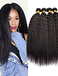cheap -4 Bundles Brazilian Hair Yaki Human Hair 400 g Natural Color Hair Weaves / Hair Bulk Extension Bundle Hair 8-28 inch Natural Natural Color Human Hair Weaves Best Quality 100% Virgin Human Hair / 8A