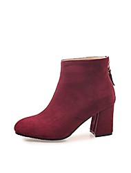 cheap -Women's Boots Suede Shoes Chunky Heel Round Toe Suede Booties / Ankle Boots Fashion Boots / Bootie Spring &  Fall Black / Brown / Wine / Party & Evening