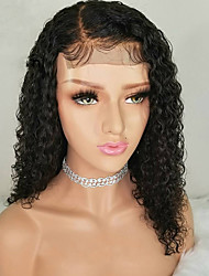 cheap -Human Hair Lace Front Wig With Ponytail style Brazilian Hair Burmese Hair Curly Natural Natural Black Wig 130% Density with Baby Hair Women Easy dressing Best Quality Hot Sale Women's Long Human Hair
