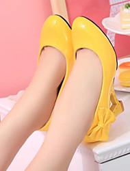 cheap -Women's Heels Pumps Wedge Heel Round Toe Bowknot PU(Polyurethane) Sweet Spring &  Fall Black / Yellow / Fuchsia / Daily