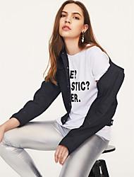 cheap -Women's Weekend Street chic Fall Short Denim Jacket, Solid Colored Shirt Collar Long Sleeve Others Black / Blushing Pink / Light Blue L / XL / XXL