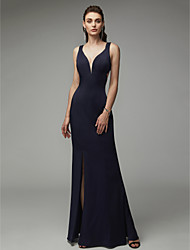 cheap -Sheath / Column Y Neck Floor Length Chiffon / Satin Elegant & Luxurious / Beautiful Back / Minimalist Formal Evening / Black Tie Gala Dress 2020 with Split Front / Criss Cross
