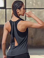 cheap -Women's Yoga Built In Bra Tank Open Back 2 in 1 Fashion Grey Running Fitness Gym Workout Tank Top Sleeveless Sport Activewear Lightweight Breathable High Impact Moisture Wicking Quick Dry Stretchy