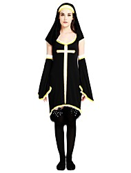 cheap -Missionary Costume Women's Adults' Halloween Halloween Carnival Masquerade Festival / Holiday Polyster Outfits Black Solid Colored Halloween