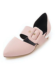 cheap -Women's Flats Low Heel Pointed Toe PU Comfort Spring & Summer Black / White / Pink / Party & Evening