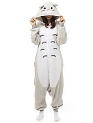 cheap -Adults' Kigurumi Pajamas Cartoon Onesie Pajamas Polar Fleece Gray Cosplay For Men and Women Animal Sleepwear Cartoon Festival / Holiday Costumes