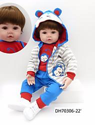 cheap -NPKCOLLECTION NPK DOLL Reborn Doll Baby Boy 24 inch Cute New Design Artificial Implantation Brown Eyes Kid's Boys' / Girls' Toy Gift
