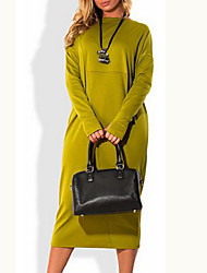 cheap -Women's Plus Size Dress - Long Sleeve Solid Colored Spring Fall Basic Daily Wine Green M L XL XXL XXXL XXXXL XXXXXL XXXXXXL
