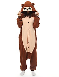 cheap -Adults' Kigurumi Pajamas Monkey Onesie Pajamas Polar Fleece Coffee Cosplay For Men and Women Animal Sleepwear Cartoon Festival / Holiday Costumes
