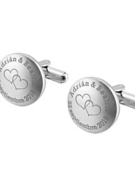 cheap -Personalized Chrome Cufflinks & Tie Clips Groom / Groomsman / Ring Bearer Wedding / Daily Wear -