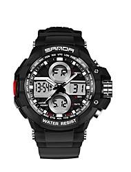 Недорогие -SANDA Муж. Спортивные часы электронные часы Японский Цифровой Черный 30 m Защита от влаги Календарь Хронометр Аналого-цифровые Роскошь Мода - Черный и золотой Черный / Синий Черный / Серебристый