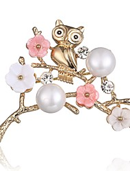 cheap -Women's Brooches Classic Stylish Owl Ladies Stylish Classic Imitation Pearl Rhinestone Brooch Jewelry Gold For Daily