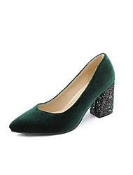 cheap -Women's Heels Pumps Chunky Heel Pointed Toe Microfiber Chinoiserie Spring &  Fall Black / Burgundy / Dark Green / Party & Evening / Party & Evening