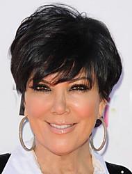 cheap -Synthetic Wig Wavy Kardashian Short Bob Wig Short Black#1B Synthetic Hair 6 inch Women's Women With Bangs Black
