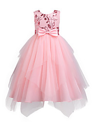 cheap -Kids Girls' Vintage Active Party Holiday Solid Colored Floral Mesh Sleeveless Knee-length Asymmetrical Dress Blushing Pink / Cotton