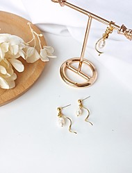 cheap -Women's Pearl Drop Earrings Dangle Earrings Stylish Wave Ladies Stylish Artistic Elegant Pearl S925 Sterling Silver Earrings Jewelry Golden For Date Work 1 Pair