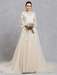 cheap -A-Line Wedding Dresses Bateau Neck Court Train Lace Tulle Long Sleeve Cutouts with Lace Appliques 2021