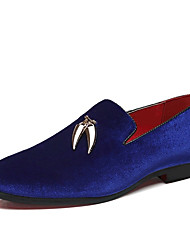cheap -Men's Suede Shoes Suede Spring / Fall British Loafers & Slip-Ons Black / Red / Blue / Party & Evening / Party & Evening / Dress Shoes