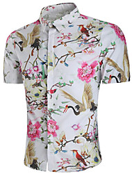 cheap -Men's Daily Shirt - Floral White / Stand / Short Sleeve