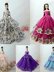 Недорогие -Платье куклы Вечеринка Прицесса 5 pcs Для Barbie Кружева Темно-серые тона Тюль Кружево Смесь хлопка Платье Для Девичий игрушки куклы