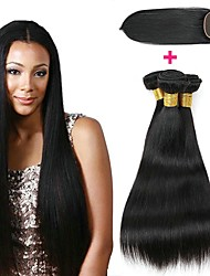 cheap -3 Bundles with Closure Mongolian Hair Straight Human Hair Unprocessed Human Hair Natural Color Hair Weaves / Hair Bulk Bundle Hair One Pack Solution 8-20 inch Natural Color Human Hair Weaves New / 8A