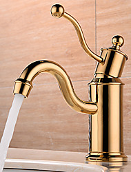 cheap -Bathroom Sink Faucet - Widespread / New Design Gold Deck Mounted Single Handle One HoleBath Taps
