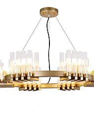cheap -18 Bulbs 60 cm Crystal Pendant Light Gold Chandelier Island Light Metal Glass Electroplated Modern 110-120V 220-240V