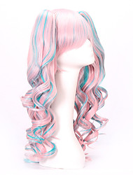 cheap -Synthetic Wig Wavy Minaj Layered Haircut Wig Long Pink Synthetic Hair 24 inch Women's Women with Clip With Bangs Blue