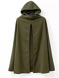 cheap -Men's Daily Regular Cloak / Capes, Solid Colored Round Neck Long Sleeve Cotton / Linen / Acrylic Army Green