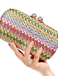 cheap -Women's Buttons / Crystals Polyester / Alloy Evening Bag Brown / Gold / Rainbow / Fall & Winter