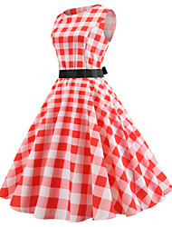 cheap -Audrey Hepburn Country Girl Plaid Retro Vintage 1950s Wasp-Waisted Dress Masquerade Women's Costume Pink Vintage Cosplay School Office Festival Sleeveless Medium Length A-Line