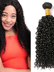 cheap -3 Bundles Peruvian Hair Kinky Curly Human Hair Headpiece Extension Bundle Hair 8-28 inch Black Natural Color Human Hair Weaves Classic Woven Thick Human Hair Extensions / African American Wig / 8A