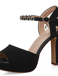 cheap -Women's Sandals Chunky Heel Peep Toe Synthetics Ankle Strap Summer Black / Blue / Party & Evening / Party & Evening