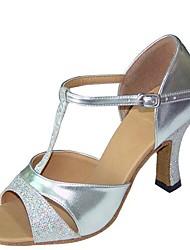 cheap -Women's Dance Shoes Satin Latin Shoes Sandal / Heel Flared Heel Customizable Gold / Silver / Purple / Performance / Practice