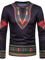 cheap -Men's Holiday Going out Vintage / Boho Cotton T-shirt - Tribal Print Black / Long Sleeve