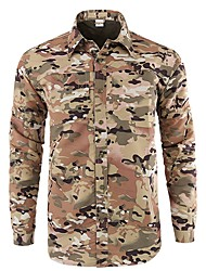cheap -Men's Camo Hiking Shirt / Button Down Shirts Long Sleeve Outdoor UV Resistant Breathable Quick Dry Wear Resistance Convert to Short Sleeves Top Autumn / Fall Summer Polyester Camping / Hiking Hunting