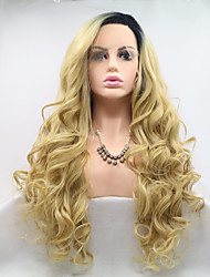 cheap -Synthetic Lace Front Wig Wavy Layered Haircut Lace Front Wig Black / Blonde Medium Length Black / Gold Synthetic Hair 24 inch Women's Women Youth Black / Blonde