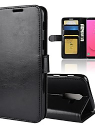 cheap -Case For Samsung Galaxy J8 / J7 Duo / J7 (2017) Wallet / Card Holder / Flip Full Body Cases Solid Colored Hard PU Leather
