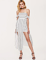 cheap -Women's Off Shoulder Maxi White Dress Summer Holiday Sheath Striped Off Shoulder White Split Print S M High Waist