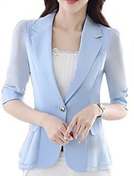 cheap -Women's Daily Basic Spring & Summer Regular Blazer, Solid Colored Notch Lapel Long Sleeve Polyester Black / Fuchsia / Light Blue / Slim