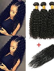 cheap -3 Bundles with Closure Indian Hair Kinky Curly Human Hair Unprocessed Human Hair Natural Color Hair Weaves / Hair Bulk Bundle Hair One Pack Solution 8-20 inch Natural Color Human Hair Weaves New / 8A